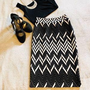 EUC Black & White Midi Skirt